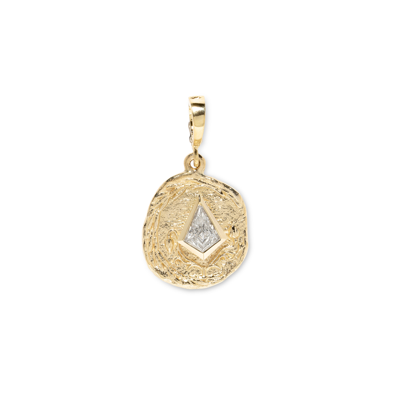 Azlee Small Olive Branch & Rose Bud Kite Diamond Coin Charm