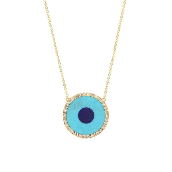 Jennifer Meyer Turquoise & Lapis Diamond Evil Eye Necklace