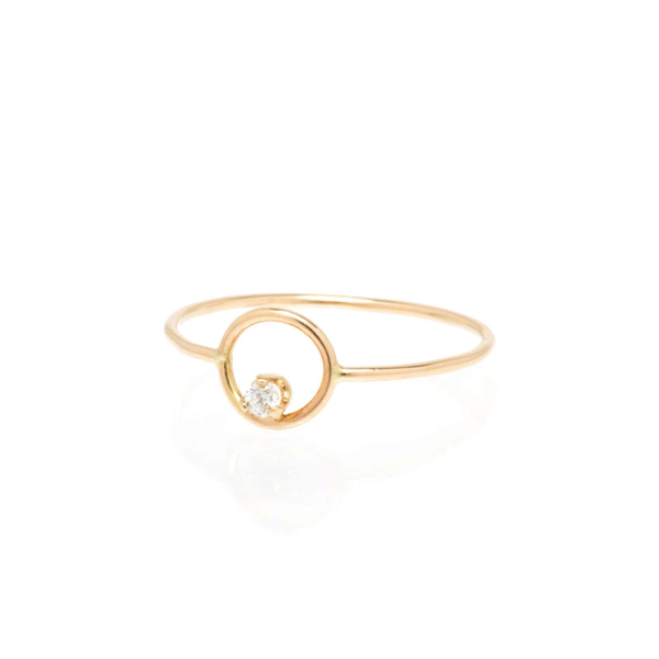 Zoe Chicco Small Circle - Diamond Inside Ring