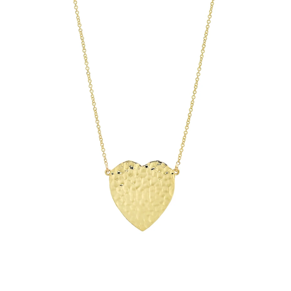Jennifer Meyer YG Hammered Heart Necklace 18k