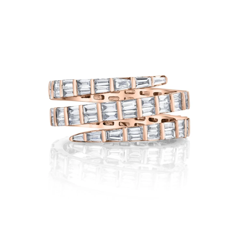 Anita Ko Three Row Baguette Diamond Coil Ring
