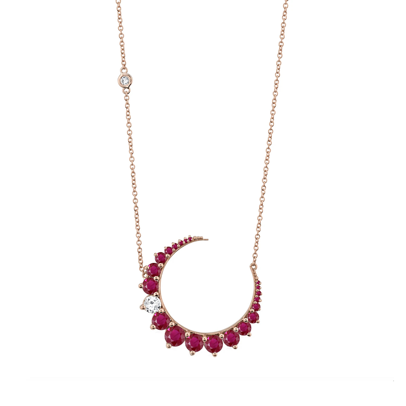 Shay Diamond & Ruby Crescent Necklace