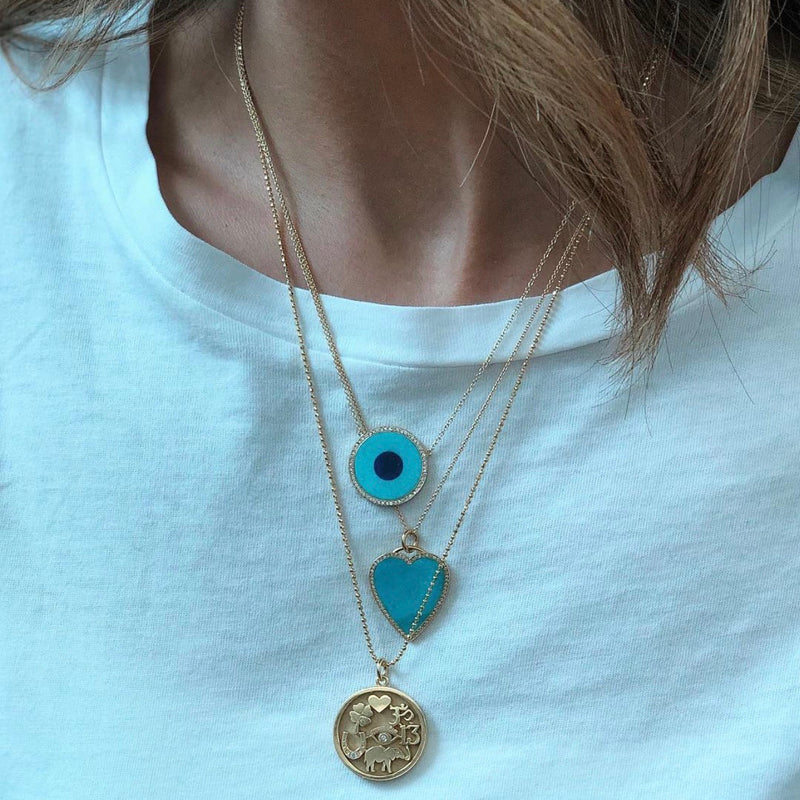 Jennifer Meyer Turquoise & Lapis Diamond Surround Evil Eye Necklace