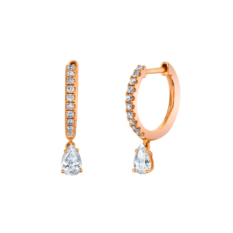 Anita Ko Single Diamond Huggie with Pear Diamond Drop