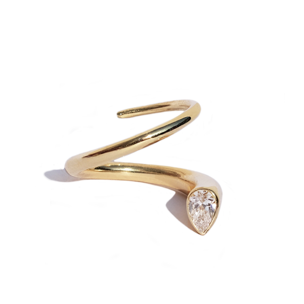 Kat Kim Pear Crescendo Pin Diamond Ring