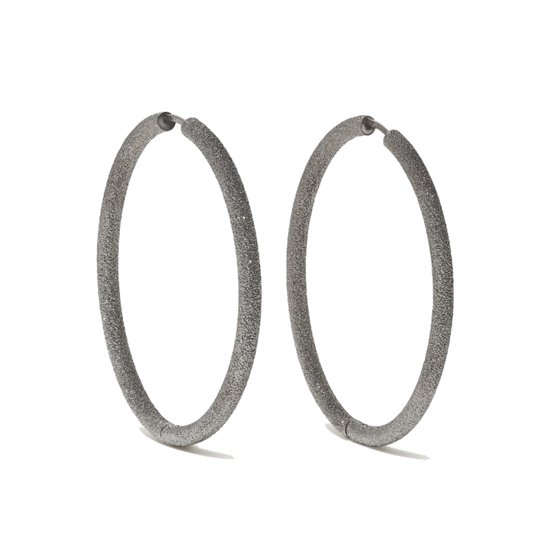 Carolina Bucci Florentine Finish Large Thick Oval Hoops