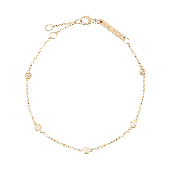 Zoe Chicco 5 Diamonds Set in Chain Anklet
