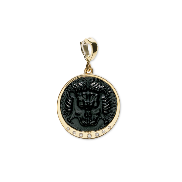 Azlee Medium Lion Black Glass Coin Charm