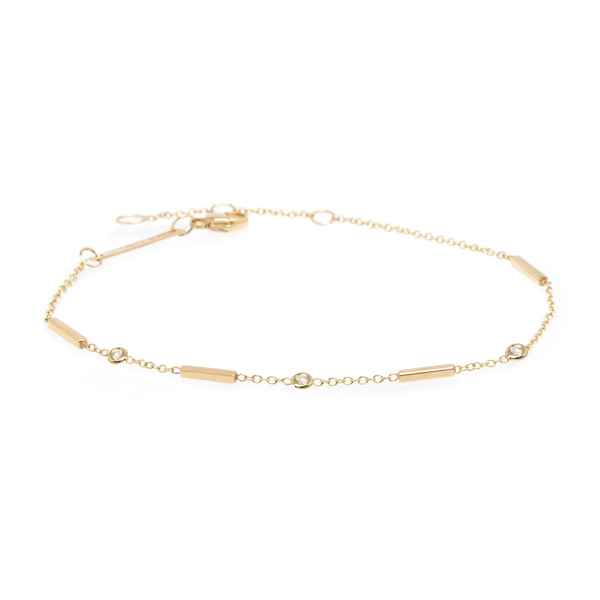 Zoe Chicco Tiny Bar & Diamond Station Bracelet