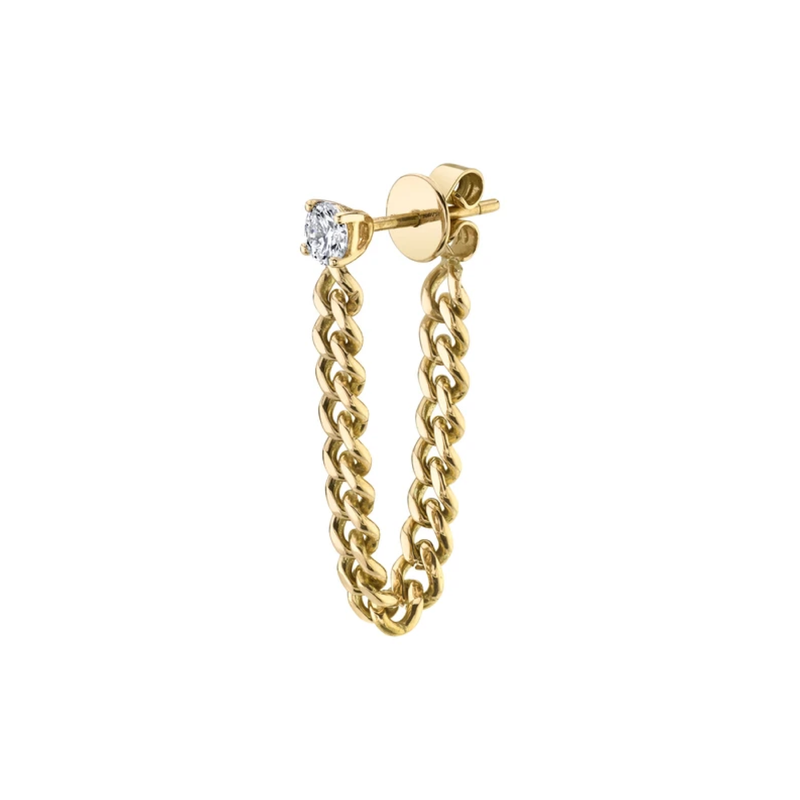 Anita Ko Cuban Link Loop Earring with Round Diamond
