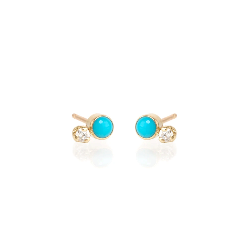 Zoe Chicco Mixed Turquoise and Diamond Studs