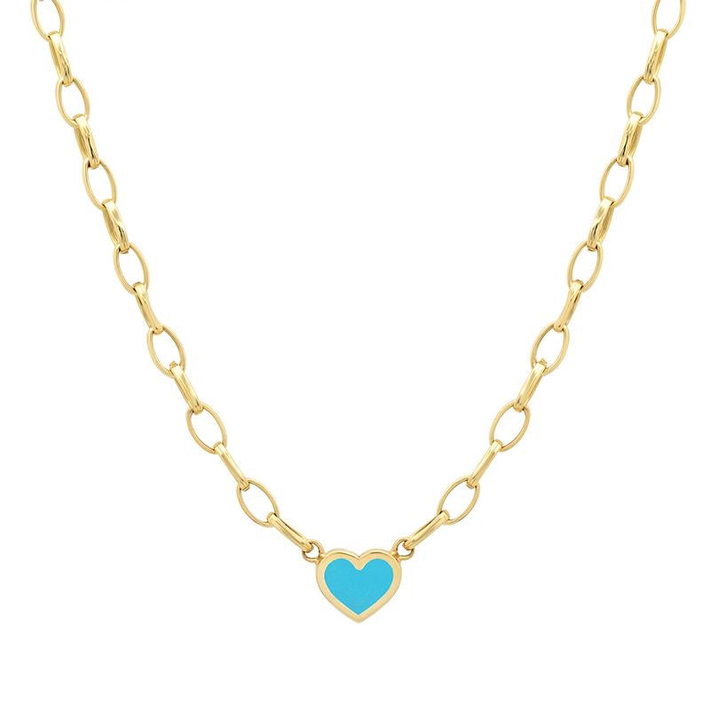 Jennifer Meyer Small Edith Necklace with Turquoise Heart