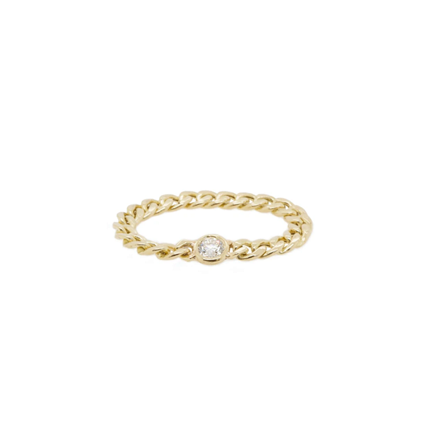 Zoe Chicco Small Curb Chain with Floating Diamond Ring