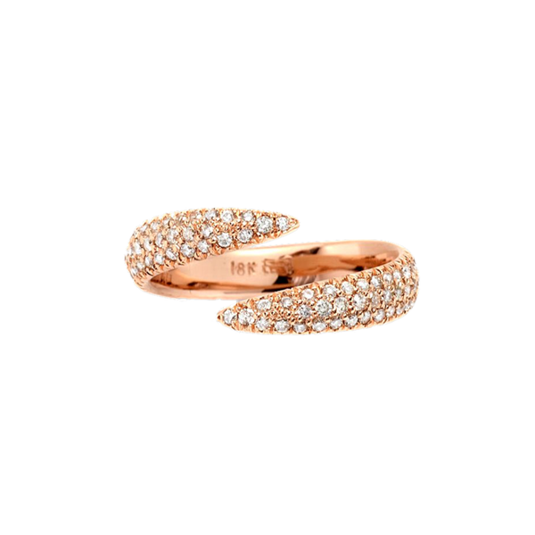 Eva Fehren RG Pale Champagne Diamonds Pave Wrap Claw Ring 18k