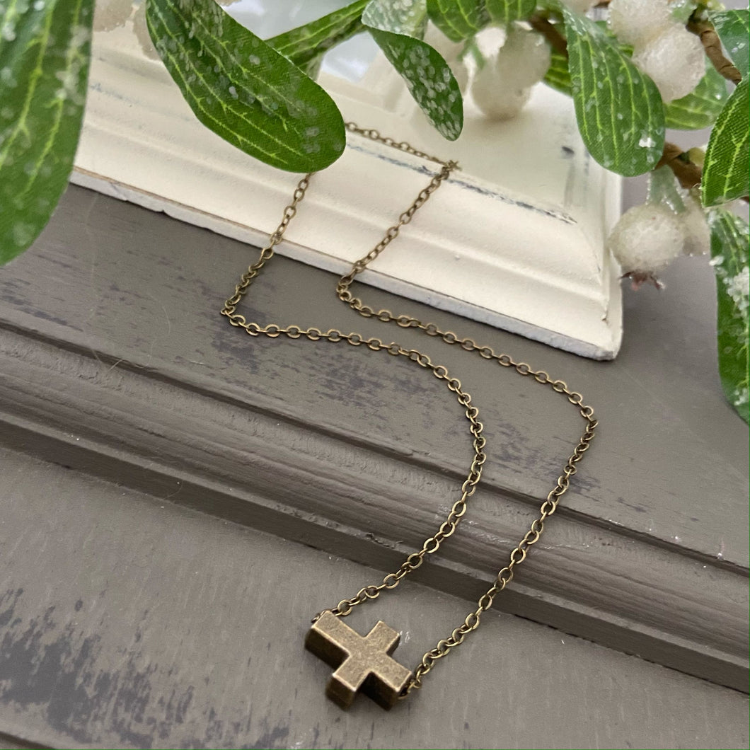 Cross Chain Necklace - Antique Bronze
