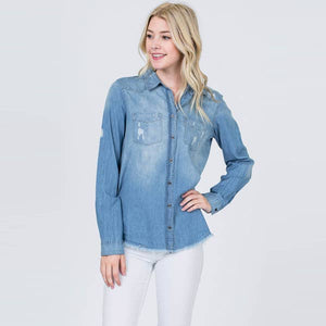 Distressed chambray button up top