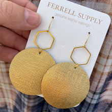 Load image into Gallery viewer, Round Leather Earrings Ferrell Supply