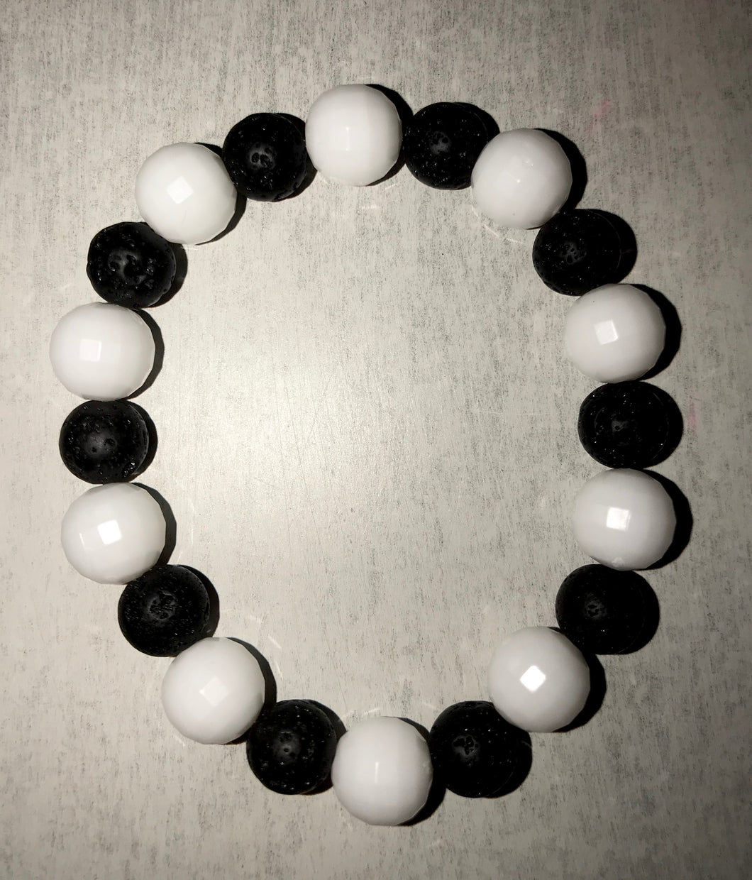 "Crystal White and Black Lava Bracelet ""Confidence"" *SALE*"