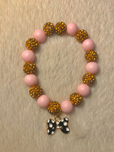 Pink And Gold Bow Disco Ball Bracelet