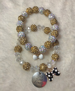 "Gold and Silver Disco Ball ""Live Your Dream"" Set"