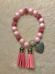 "(Breast Cancer Awareness Month) Bracelet ""You Are Always In My Heart"""
