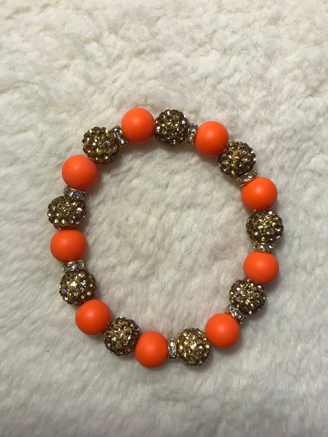Orange and Gold Disco Ball Bracelet *SALE*