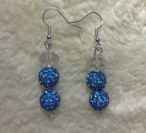 Crystal Clear Blue Disco Ball Earrings
