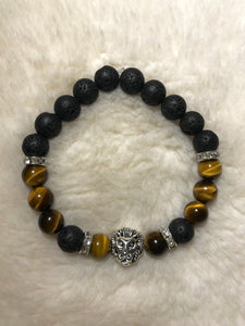 Black, Gold and Silver Tigers Eye Bracelet (Lion Head)