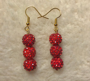 Crystal Red Disco Ball Earrings