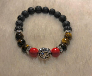 Red Tiger's Eye Bracelet (Silver Lion Head)