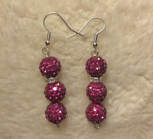 Crystal Purple Disco Ball Earrings