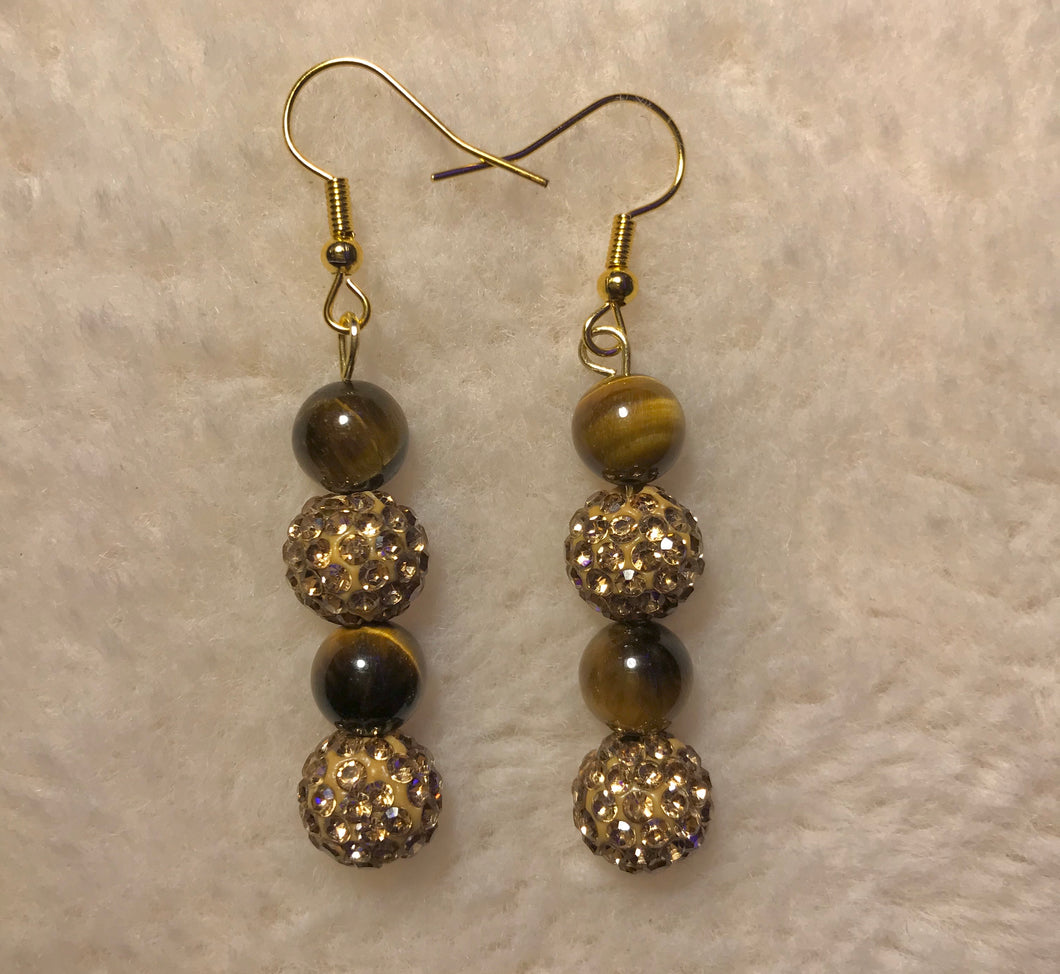 Crystal Gold Tigers Eye Earrings