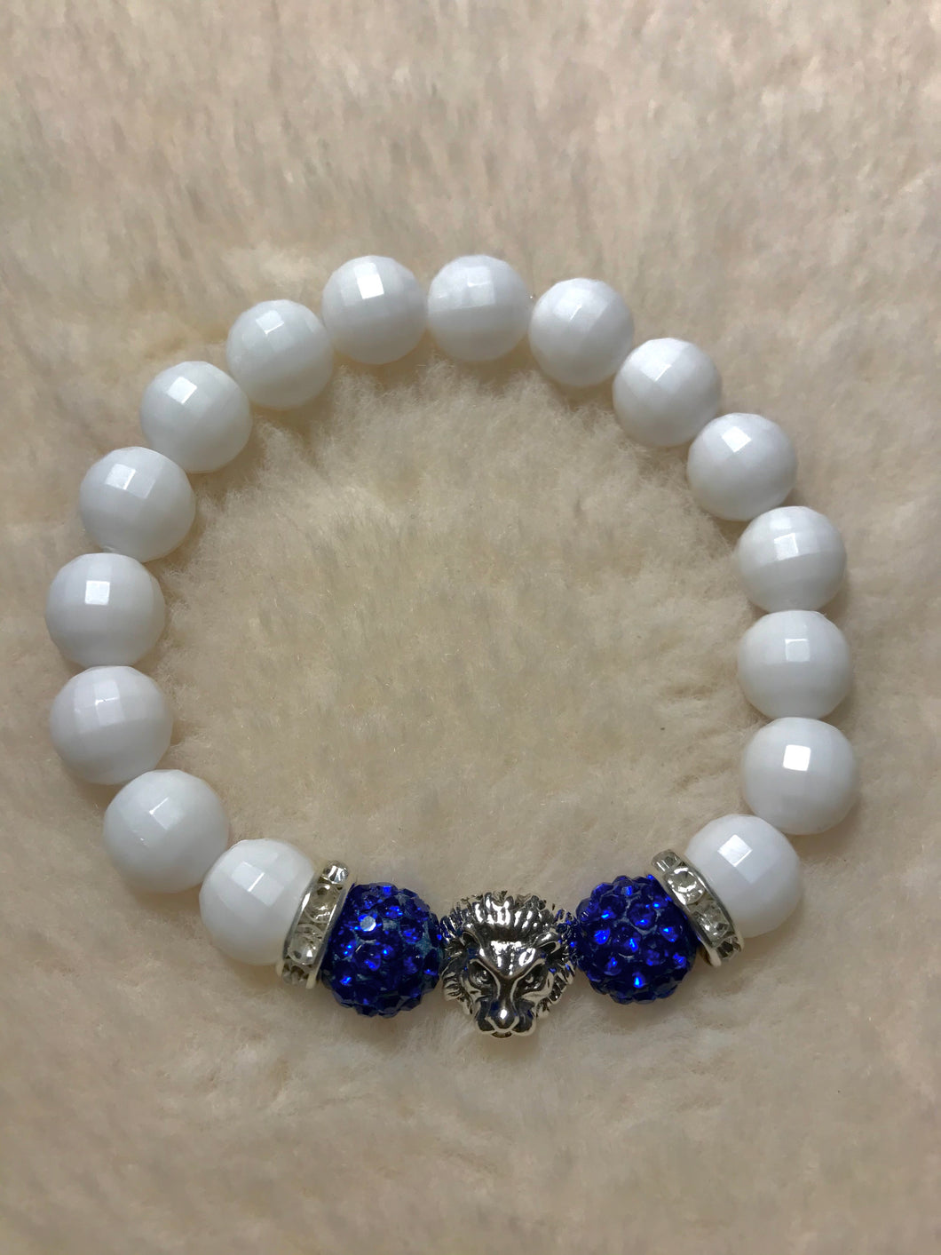 Blue Crystal Disco Ball Bracelet (Lion Head)