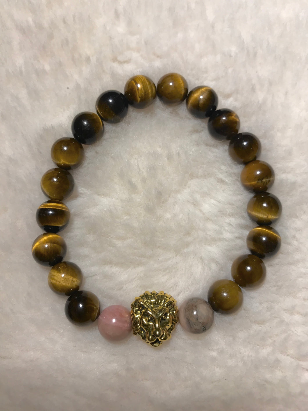 Pink Marble Tigers Eye Bracelet (Lion Head)