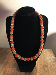 Fire and Gold Icy Disco Ball Necklace