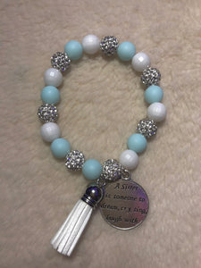 Powdered Blue and White Disco Ball Bracelet
