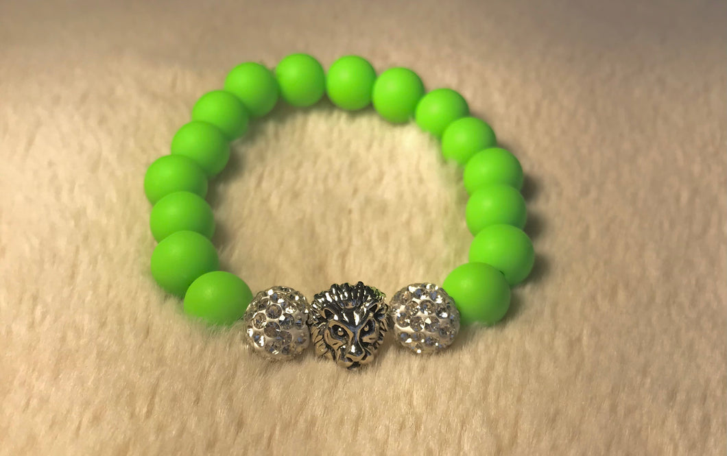 Neon Lime Green Lion Head Bracelet