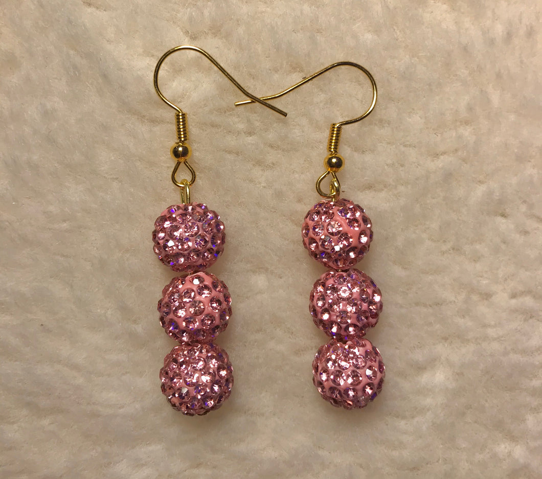 Crystal Pink Disco Ball Earrings