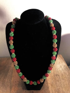 Rasta Icy Disco Ball Necklace