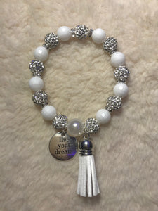 "White Disco Ball Bracelet ""Live Your Dream"""