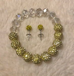 Golden Yellow Crystal Disco Ball Set
