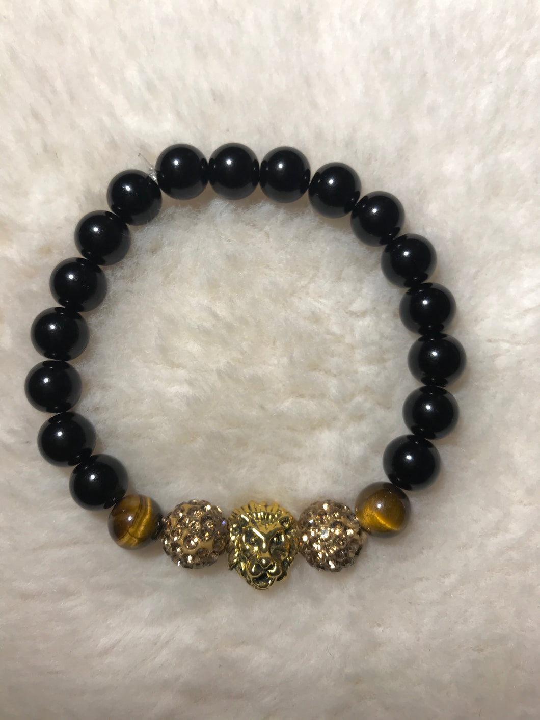 Gold and Black Tigers Eye Bracelet (Lion Head)