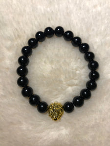 All Black and Gold Tigers Eye Bracelet (Lion Head)