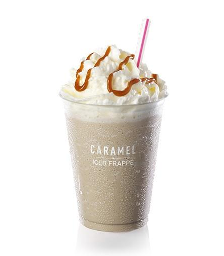 Caramel Iced Frappe Fast Food Delivery Man
