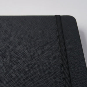Esc. Goods Dark Mode Notebook Front Cover. A5, 150 gsm, black paper, high ink compatibility. Saffiano Leather.