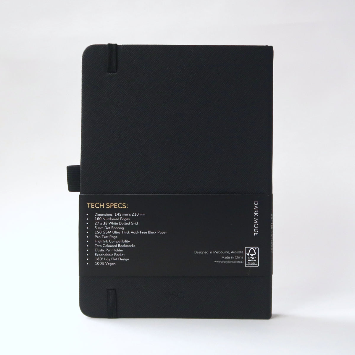 Esc. Goods Dark Mode Notebook Back Cover. A5, 150 gsm, black paper, high ink compatibility. Saffiano Leather.