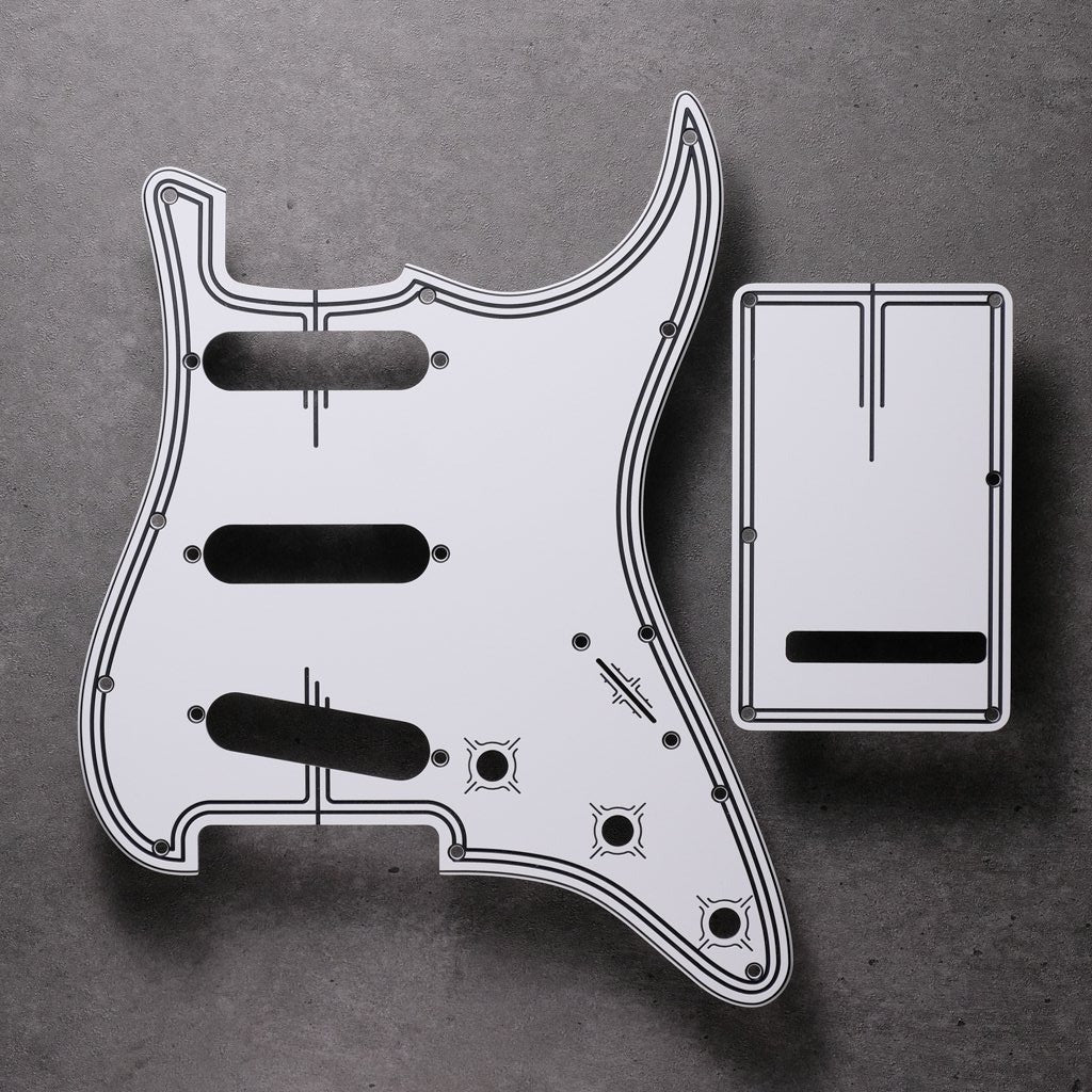 Streamline - Stratocaster Pickguard and Tremolo Cover - White/Black/White