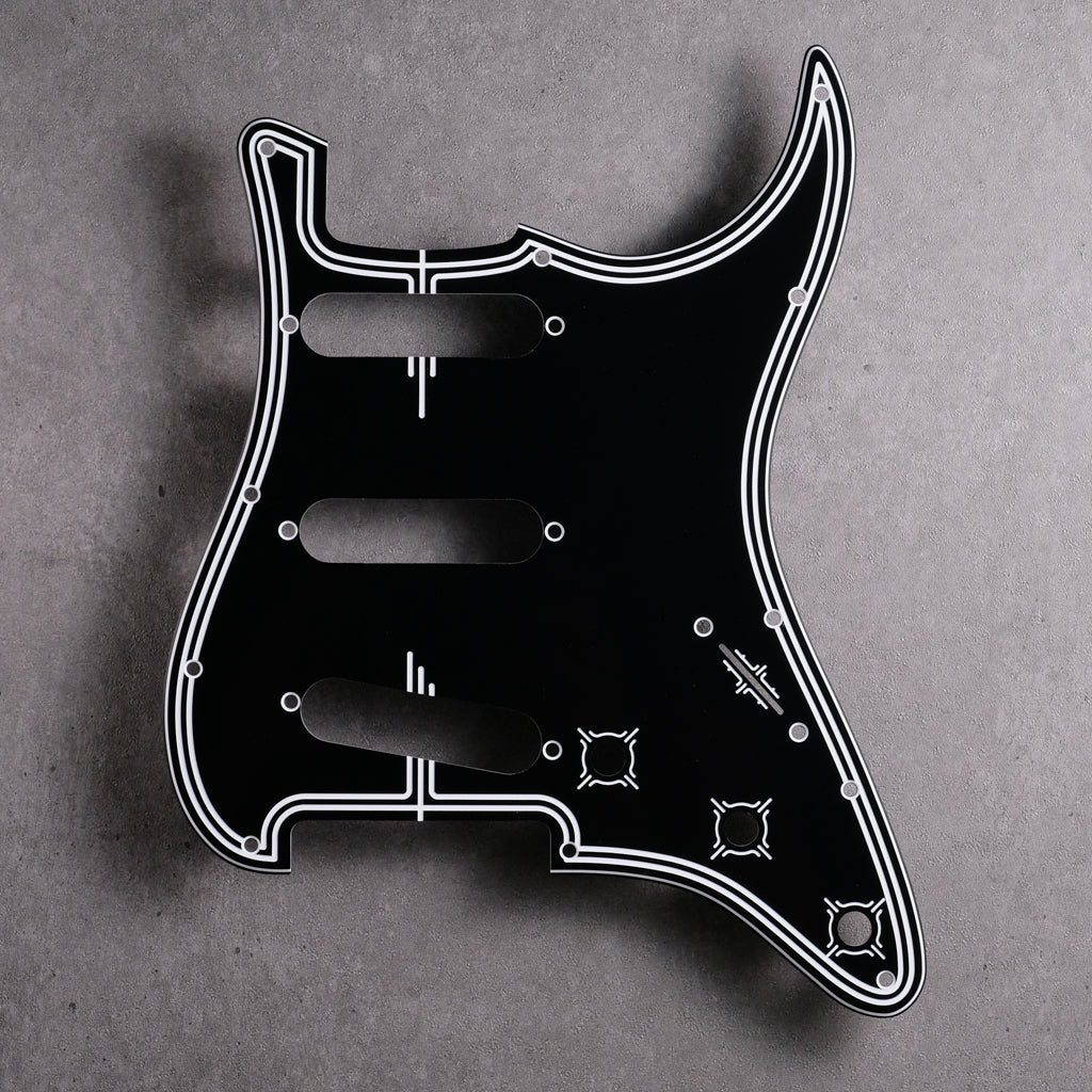 Streamline - Stratocaster Pickguard - Black/White/Black