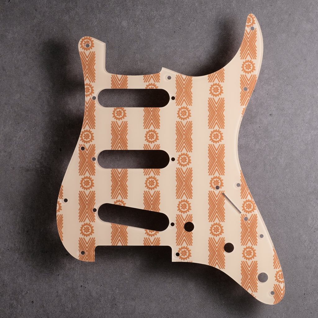 Barkcloth - Stratocaster Pickguard - Brown on Ivory