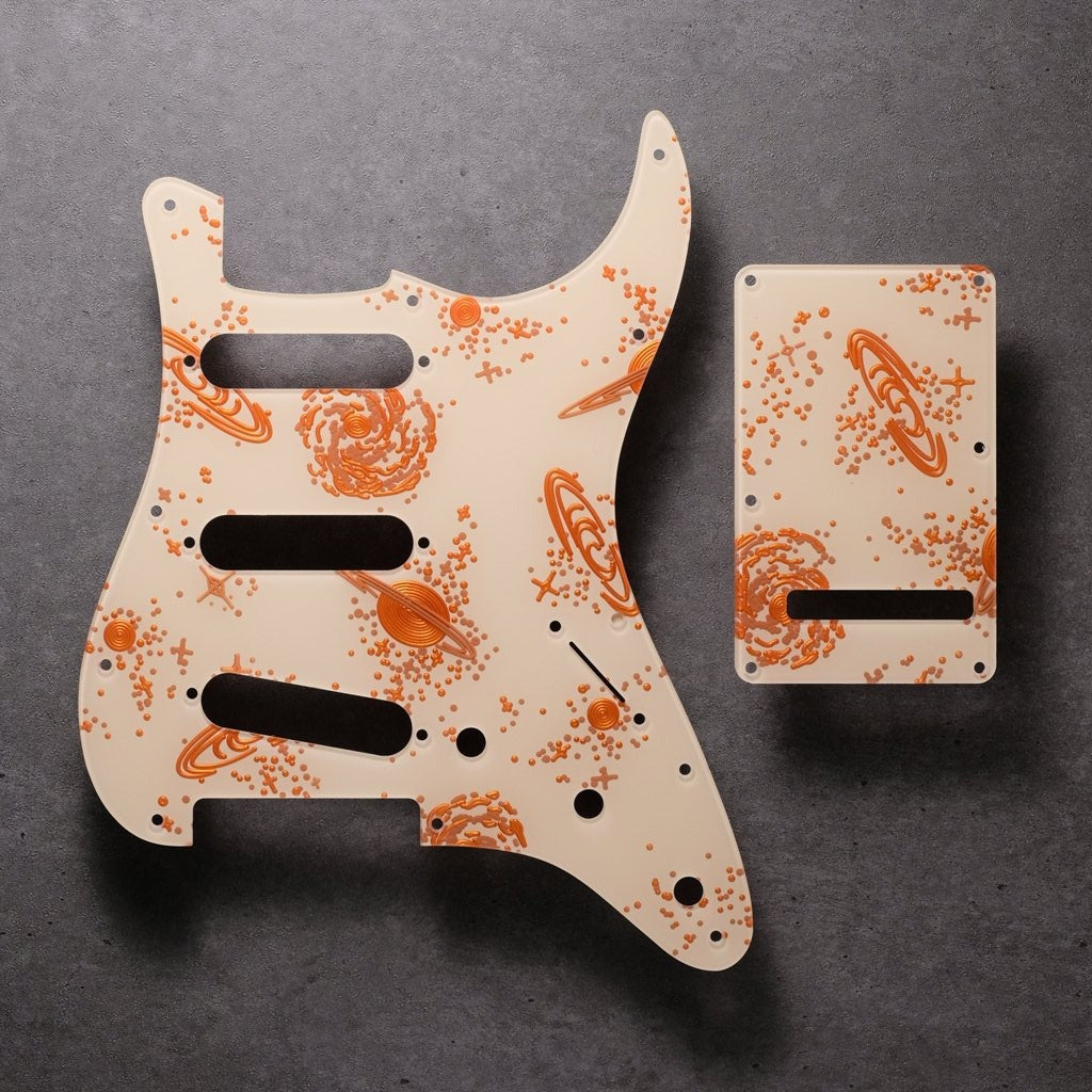 Space Oddity- Stratocaster Pickguard and Trem Cover - Ivory